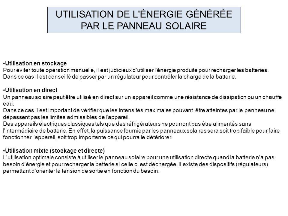 UTILISATION DE L ÉNERGIE GÉNÉRÉE