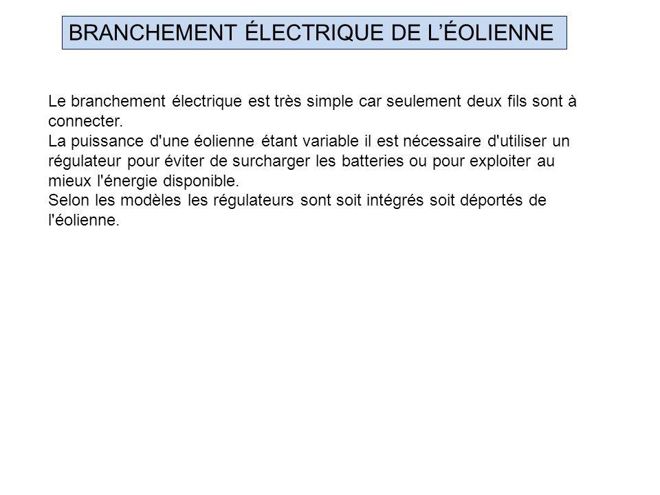 BRANCHEMENT ÉLECTRIQUE DE L'ÉOLIENNE