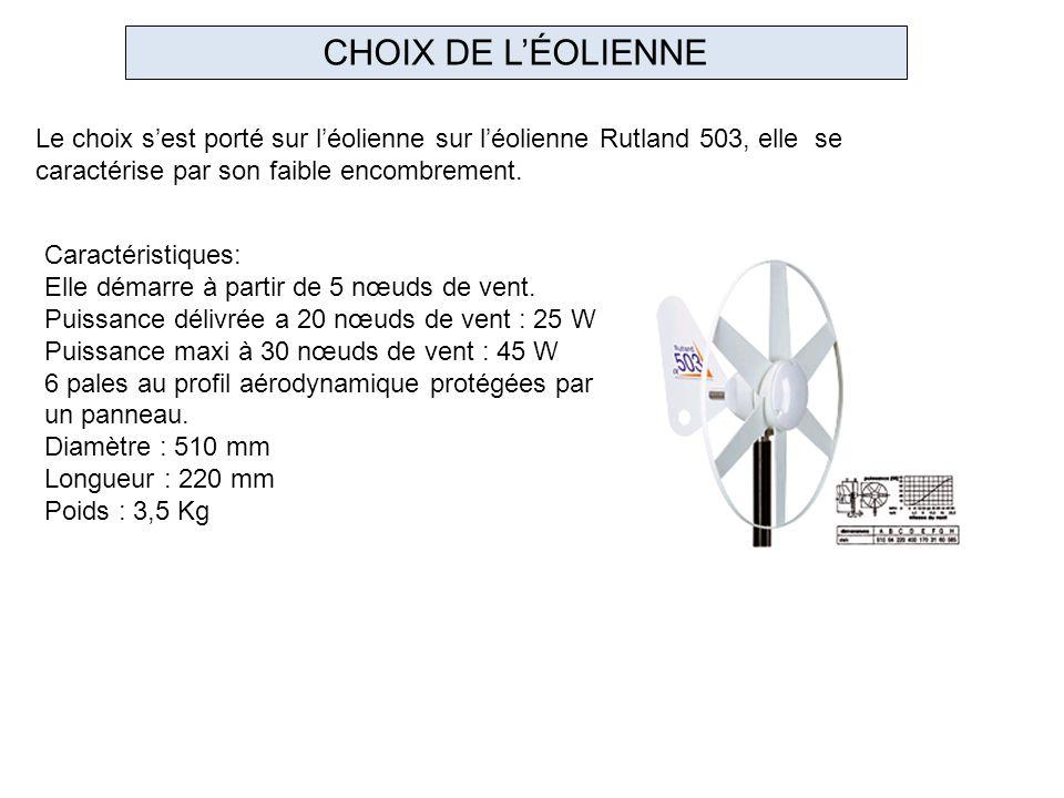 CHOIX DE L'ÉOLIENNE Le choix s'est porté sur l'éolienne sur l'éolienne Rutland 503, elle se caractérise par son faible encombrement.