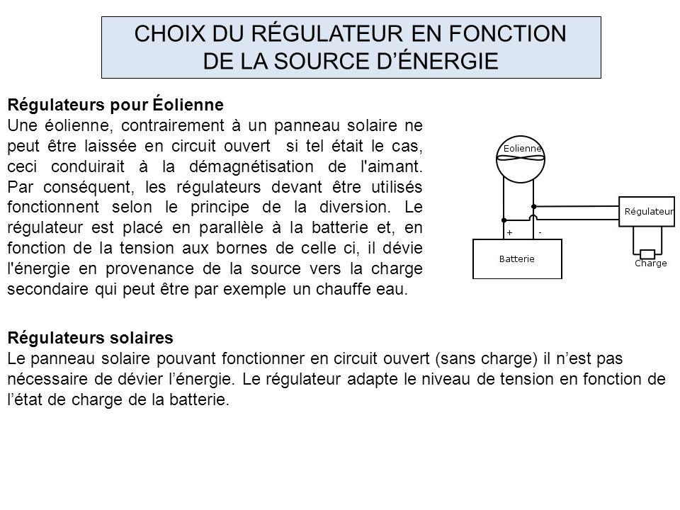 CHOIX DU RÉGULATEUR EN FONCTION
