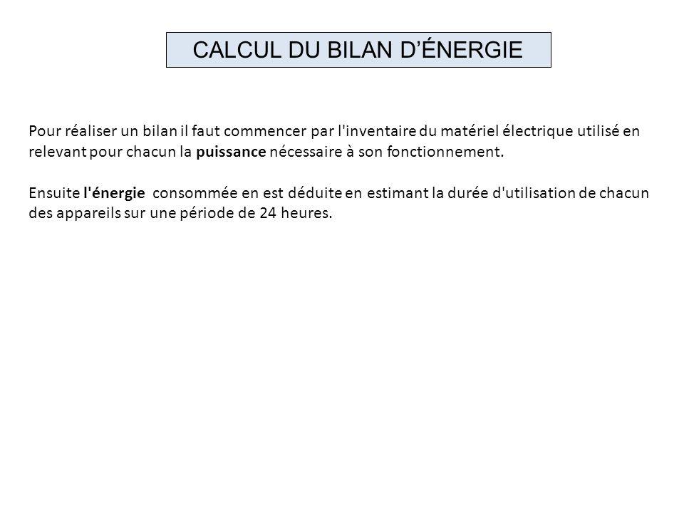 CALCUL DU BILAN D'ÉNERGIE