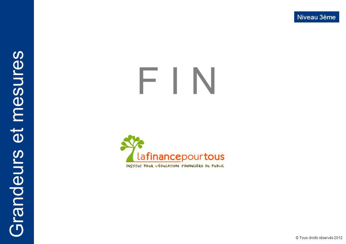 Niveau 3ème F I N © Tous droits réservés 2012