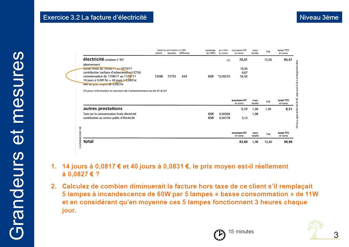 3 Exercice 3.2 La facture d'électricité Niveau 3ème