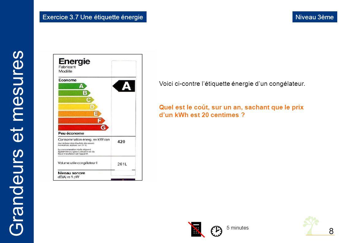 8 Exercice 3.7 Une étiquette énergie Niveau 3ème