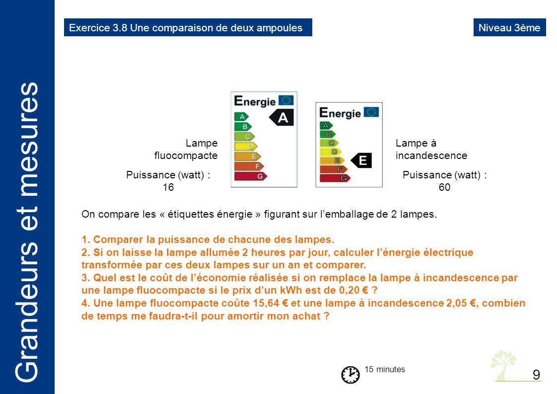 9 Exercice 3.8 Une comparaison de deux ampoules Niveau 3ème