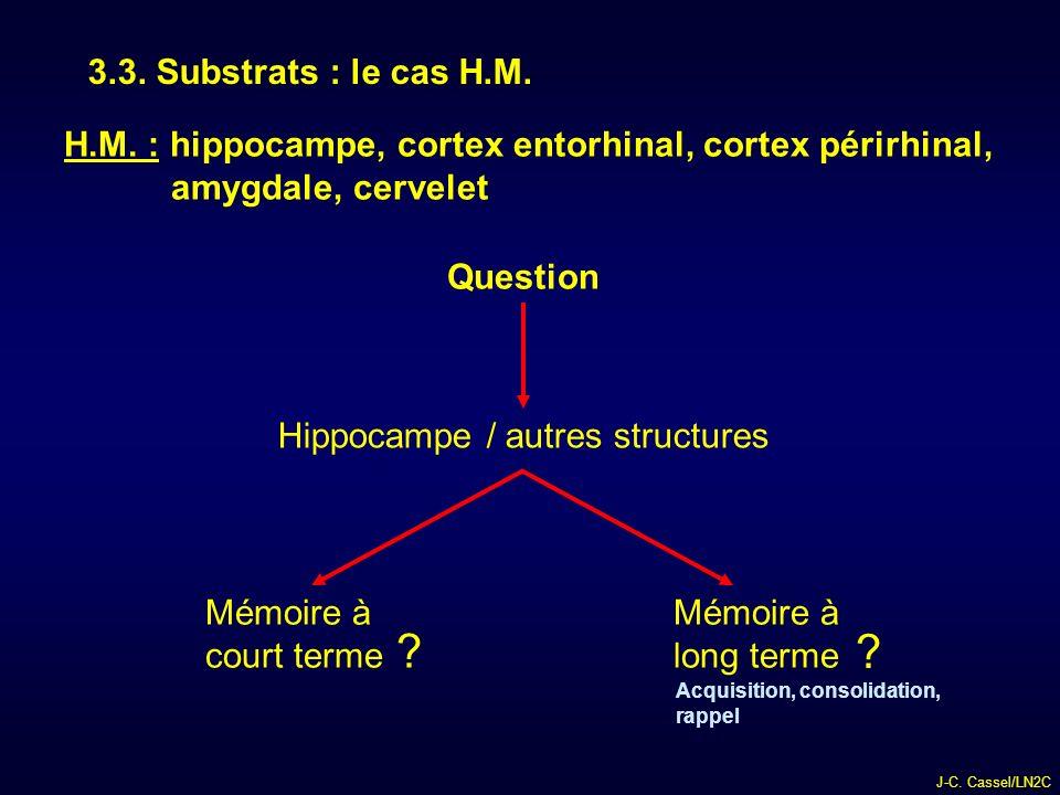 3.3. Substrats : le cas H.M. H.M. : hippocampe, cortex entorhinal, cortex périrhinal, amygdale, cervelet.