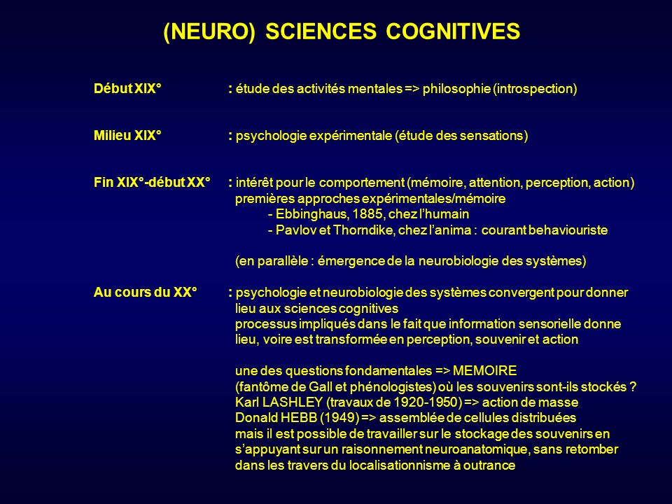 (NEURO) SCIENCES COGNITIVES