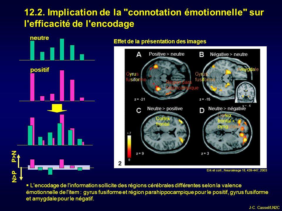12.2. Implication de la connotation émotionnelle sur l efficacité de l encodage