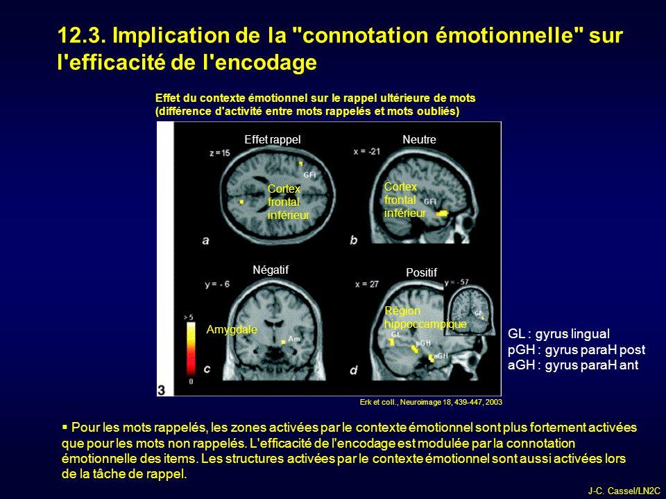 12.3. Implication de la connotation émotionnelle sur l efficacité de l encodage
