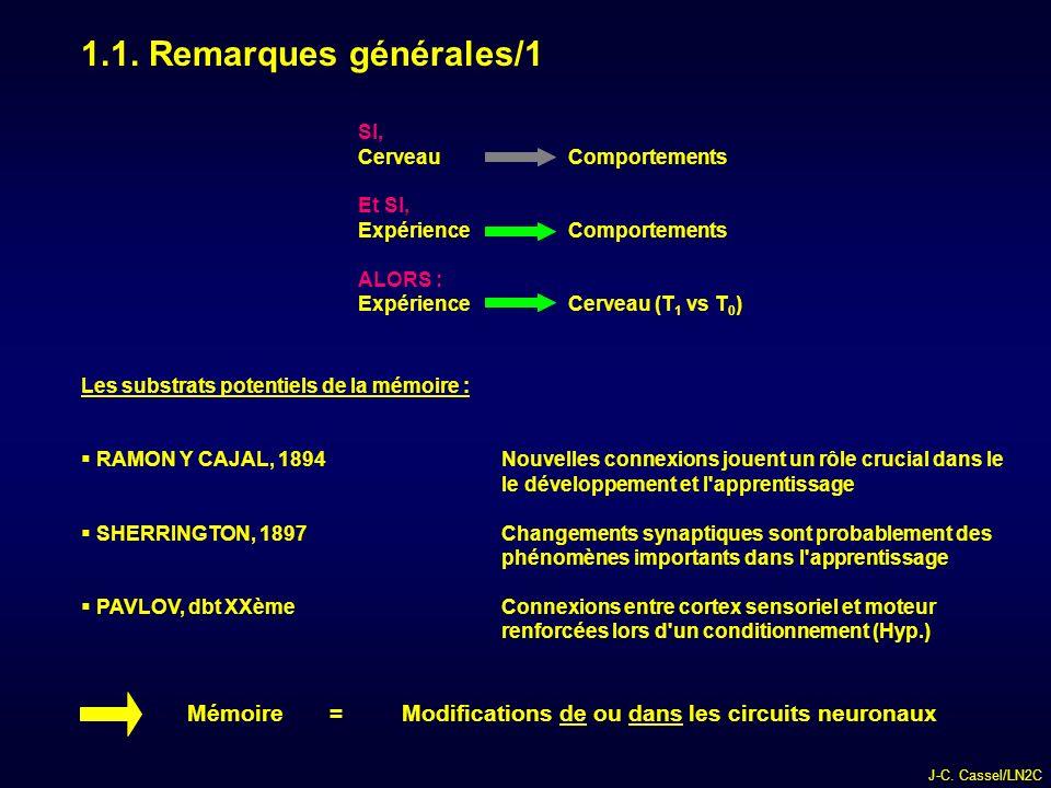 1.1. Remarques générales/1 SI, Cerveau Comportements. Et SI, Expérience Comportements. ALORS :