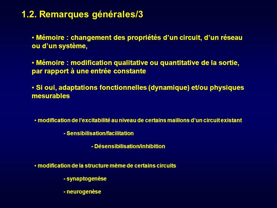 1.2. Remarques générales/3 Mémoire : changement des propriétés d'un circuit, d'un réseau ou d'un système,
