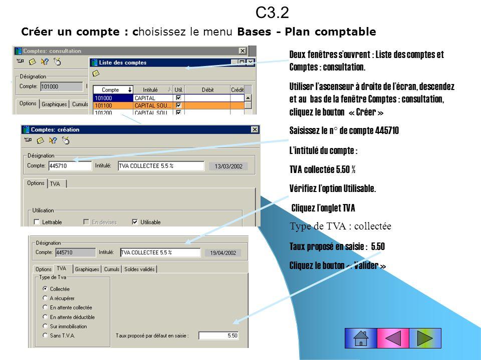 C3.2 Créer un compte : choisissez le menu Bases - Plan comptable
