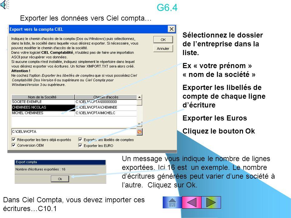 G6.4 Exporter les données vers Ciel compta…