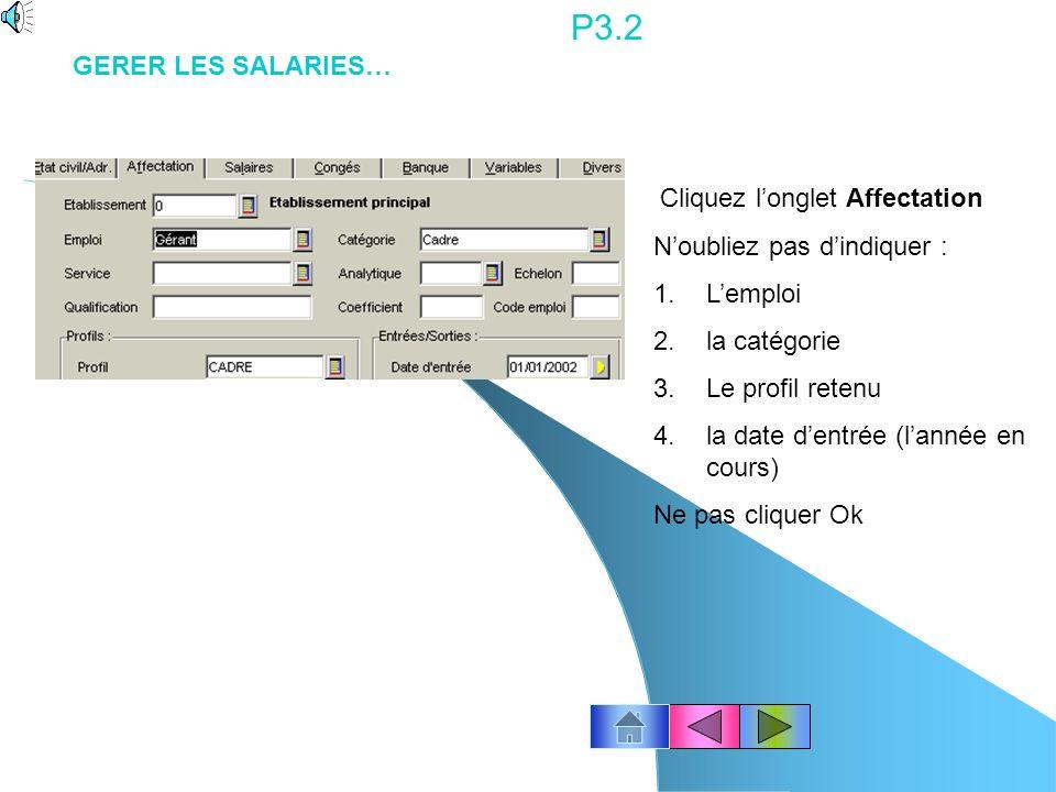 P3.2 GERER LES SALARIES… N'oubliez pas d'indiquer : L'emploi