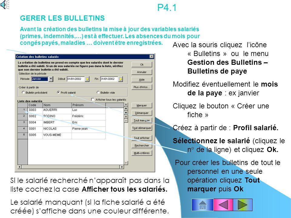 P4.1 GERER LES BULLETINS.