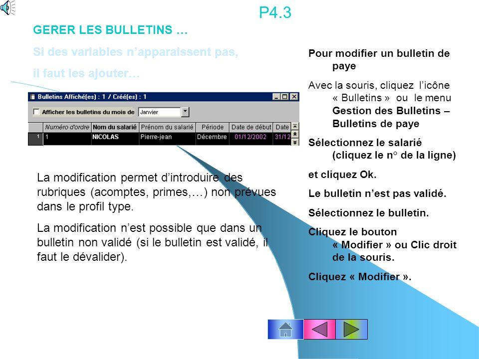 P4.3 GERER LES BULLETINS … Si des variables n'apparaissent pas,
