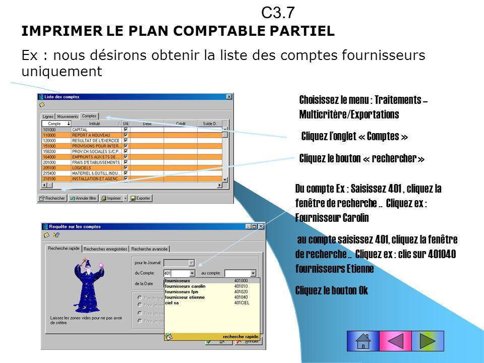 C3.7 IMPRIMER LE PLAN COMPTABLE PARTIEL