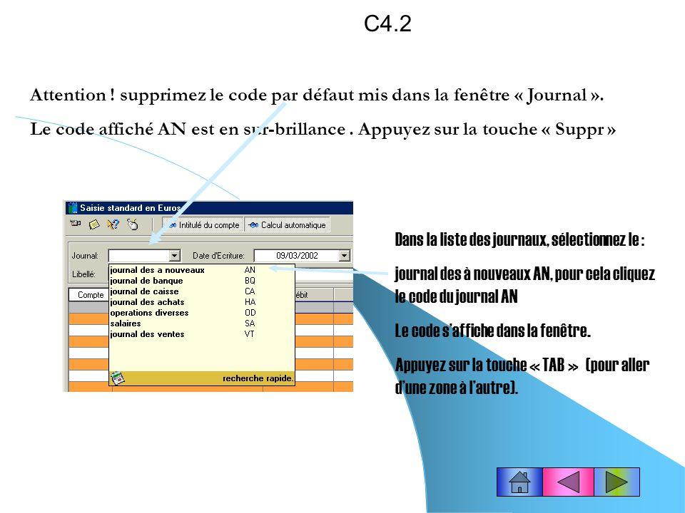 C4.2 Attention ! supprimez le code par défaut mis dans la fenêtre « Journal ».