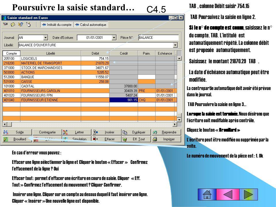Poursuivre la saisie standard… C4.5