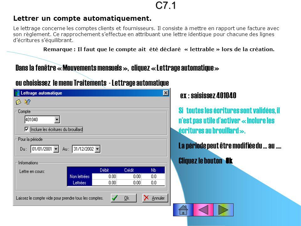 C7.1 Lettrer un compte automatiquement.