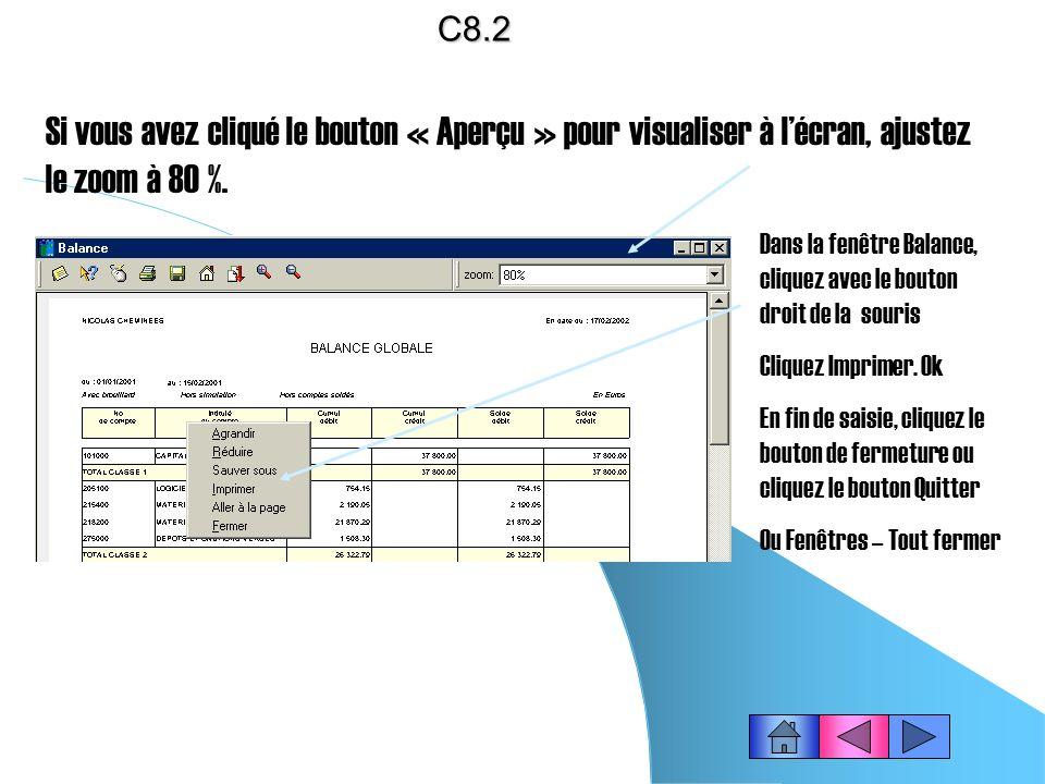C8.2 Si vous avez cliqué le bouton « Aperçu » pour visualiser à l'écran, ajustez le zoom à 80 %.