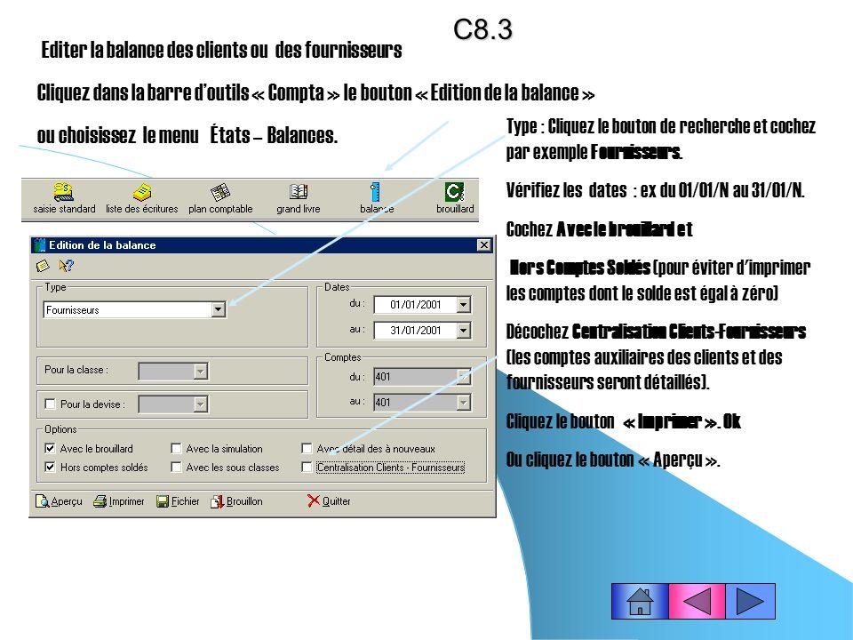 C8.3 Editer la balance des clients ou des fournisseurs