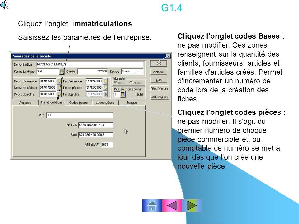 G1.4 Cliquez l'onglet immatriculations