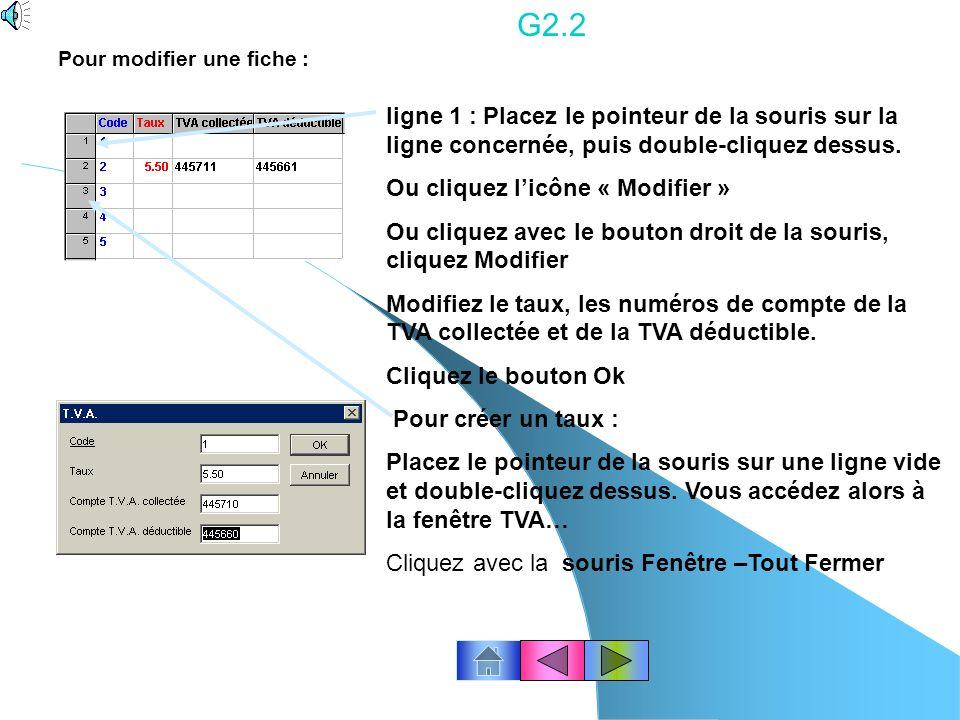 G2.2 Pour modifier une fiche : ligne 1 : Placez le pointeur de la souris sur la ligne concernée, puis double-cliquez dessus.