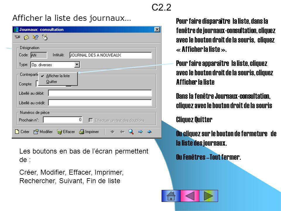 C2.2 Afficher la liste des journaux…