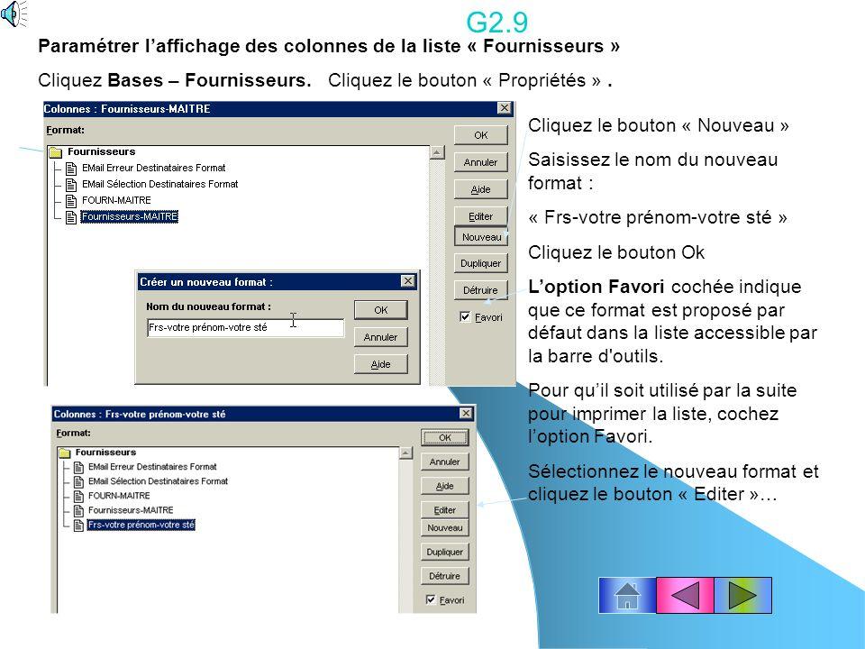 G2.9 Paramétrer l'affichage des colonnes de la liste « Fournisseurs »