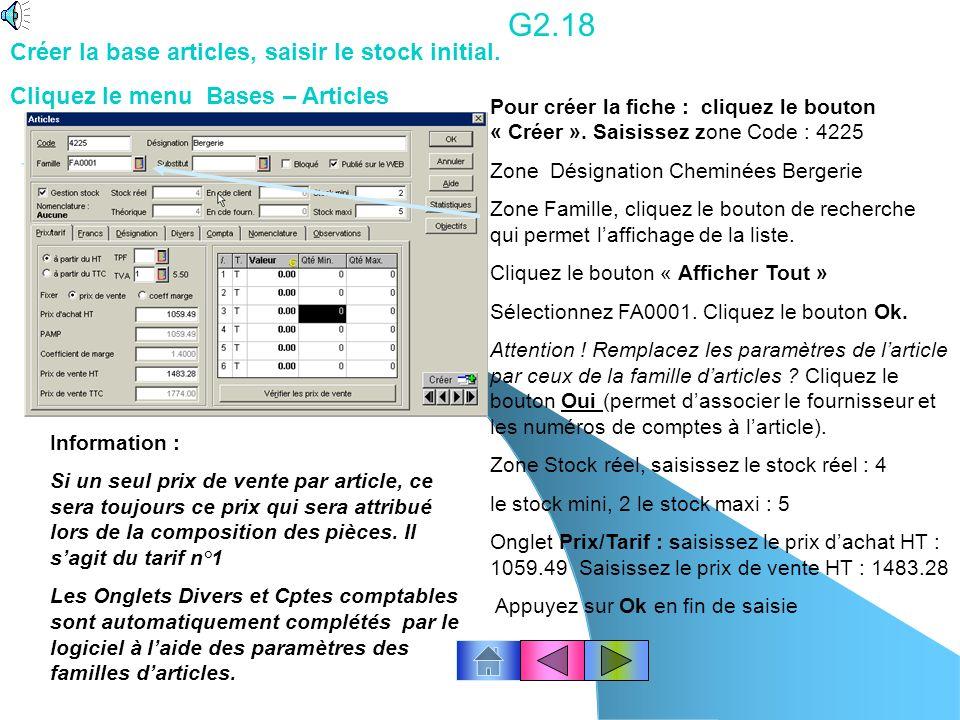 G2.18 Créer la base articles, saisir le stock initial.