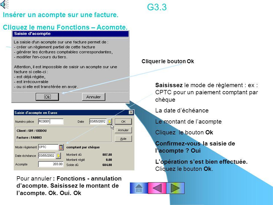 G3.3 Insérer un acompte sur une facture.