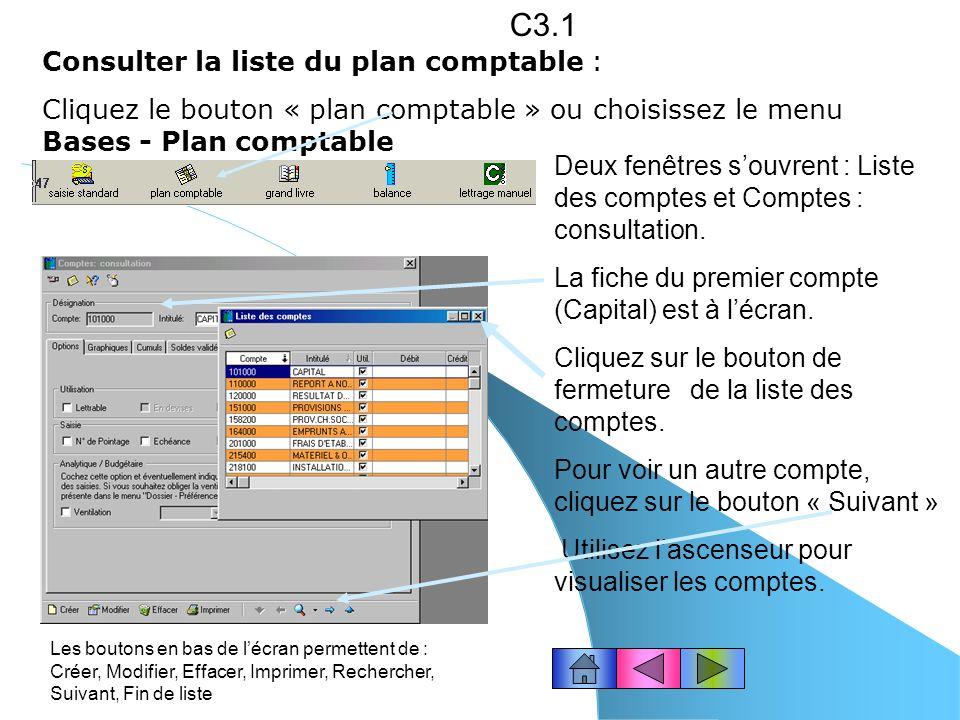 C3.1 Consulter la liste du plan comptable :