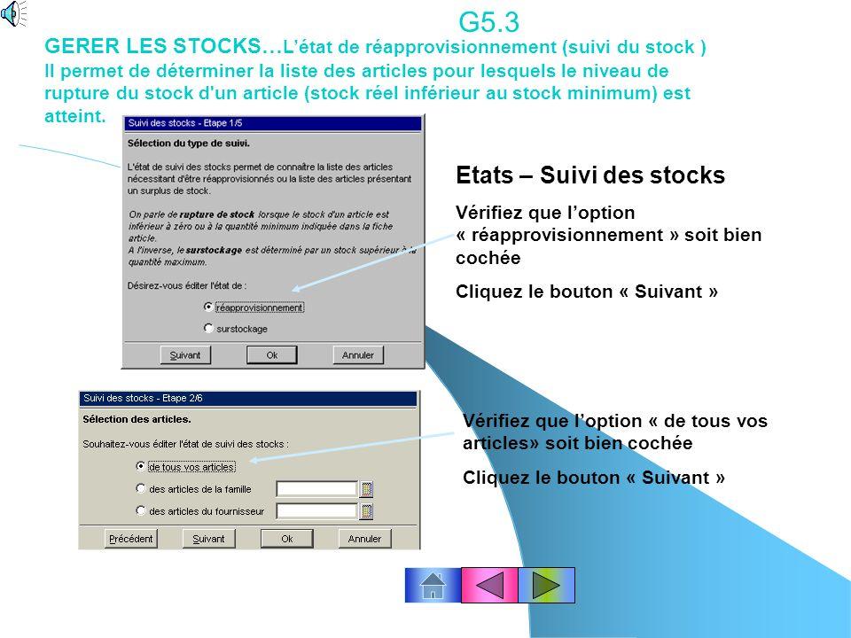 G5.3 Etats – Suivi des stocks