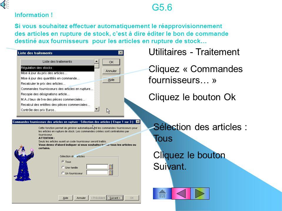Utilitaires - Traitement Cliquez « Commandes fournisseurs… »