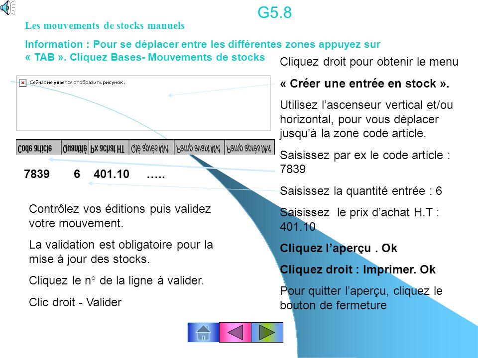 G5.8 7839 6 401.10 ….. Cliquez droit pour obtenir le menu