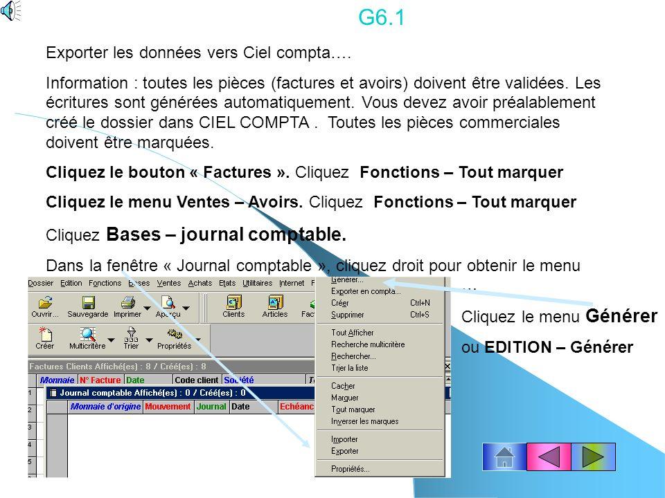 G6.1 Exporter les données vers Ciel compta….