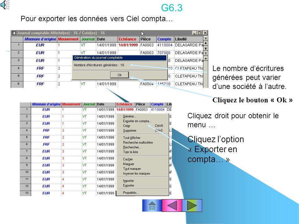 G6.3 Cliquez l'option « Exporter en compta… »