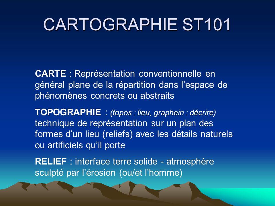 CARTOGRAPHIE ST101 CARTE : Représentation conventionnelle en général plane de la répartition dans l'espace de phénomènes concrets ou abstraits.