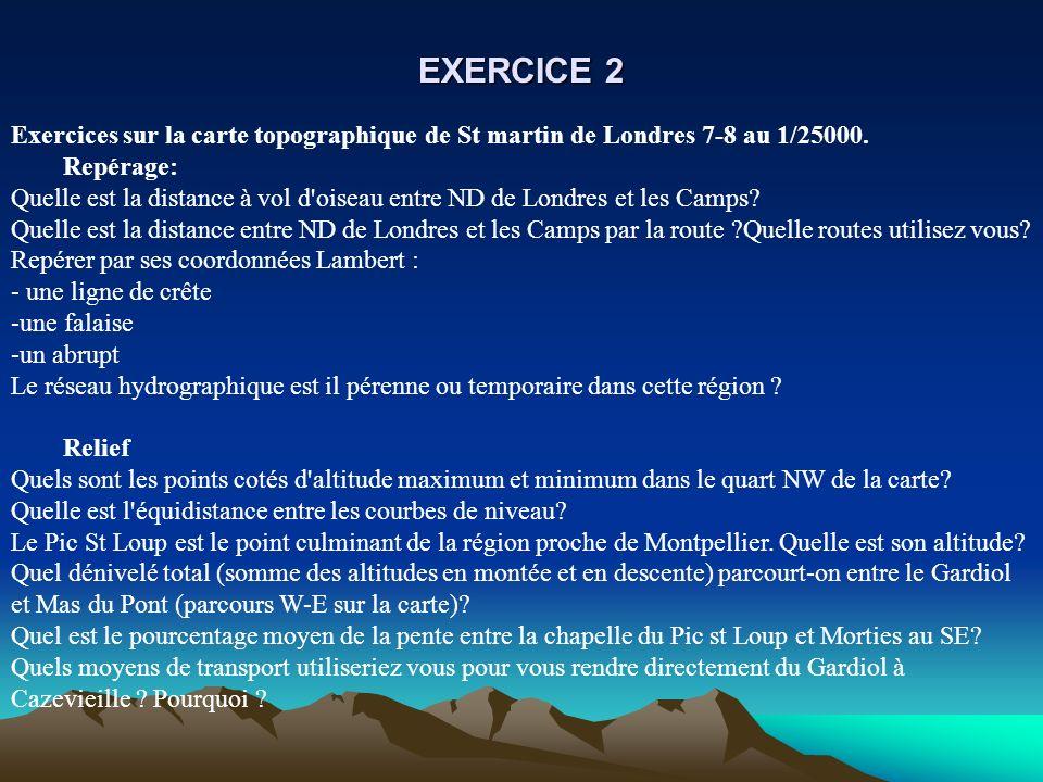 EXERCICE 2Exercices sur la carte topographique de St martin de Londres 7-8 au 1/25000. Repérage: