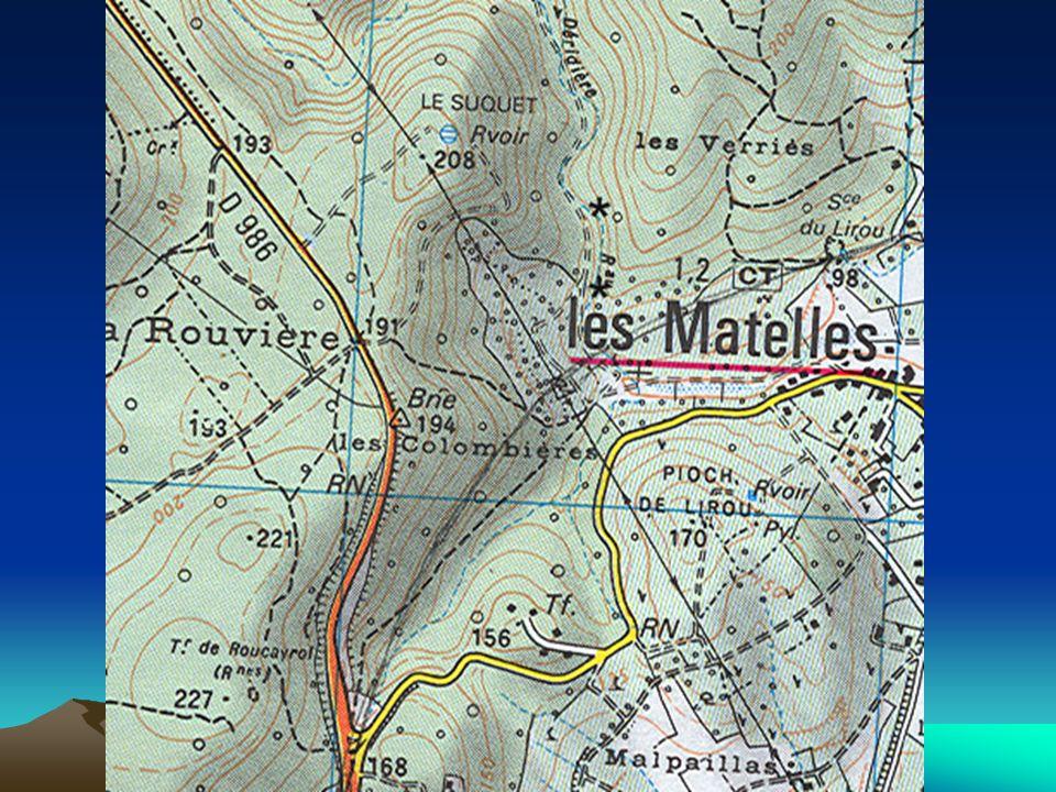 Extrait de la carte topographique Les Matelles au 1/25 000
