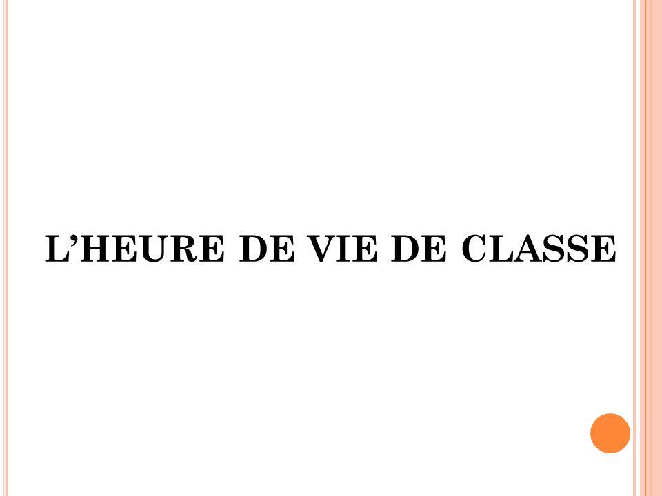 L'HEURE DE VIE DE CLASSE