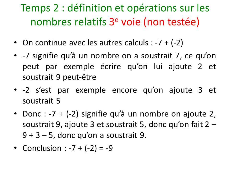 Temps 2 : définition et opérations sur les nombres relatifs 3e voie (non testée)