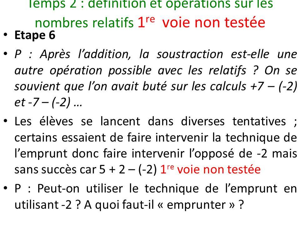 Temps 2 : définition et opérations sur les nombres relatifs 1re voie non testée