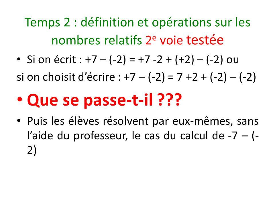 Temps 2 : définition et opérations sur les nombres relatifs 2e voie testée