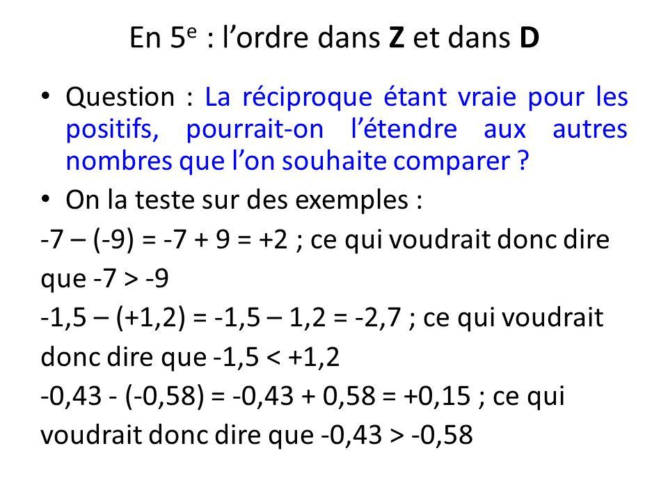 En 5e : l'ordre dans Z et dans D