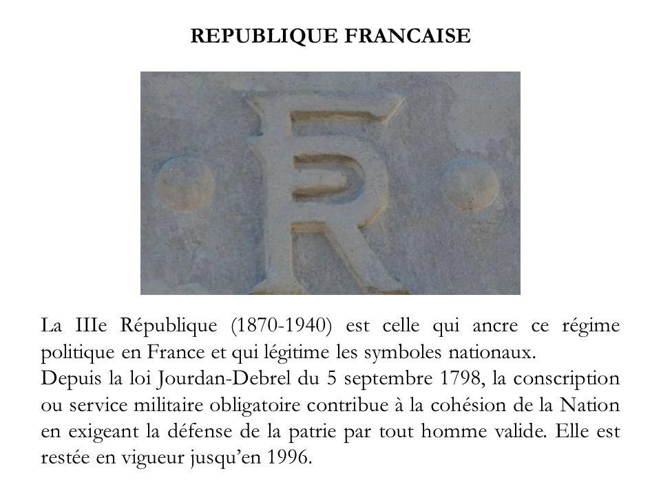 REPUBLIQUE FRANCAISE La IIIe République (1870-1940) est celle qui ancre ce régime politique en France et qui légitime les symboles nationaux.