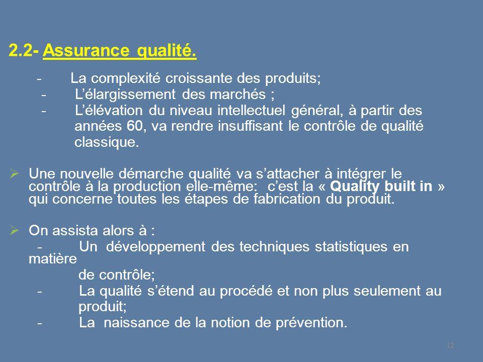 2.2- Assurance qualité. - L'élargissement des marchés ;