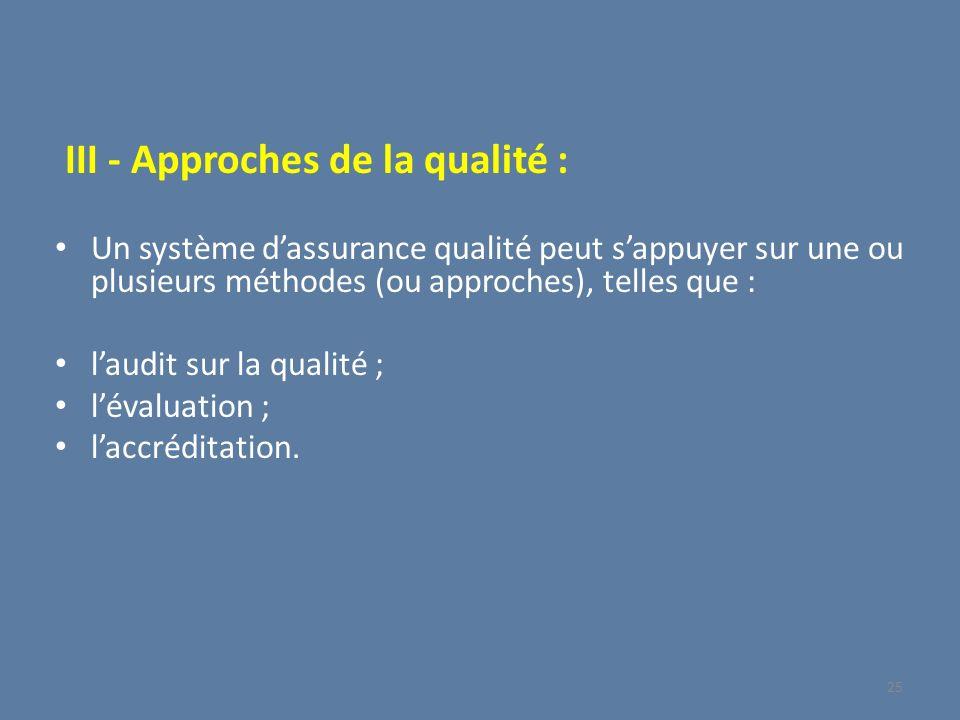 III - Approches de la qualité :