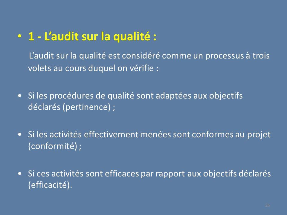 1 - L'audit sur la qualité :